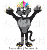 Vector Illustration of a Cartoon Black Jaguar Mascot Punk with Colorful Hair by Toons4Biz