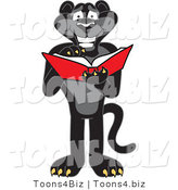Vector Illustration of a Cartoon Black Jaguar Mascot Reading by Toons4Biz