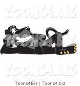 Vector Illustration of a Cartoon Black Jaguar Mascot Reclined by Toons4Biz