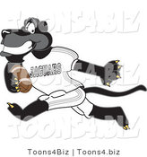 Vector Illustration of a Cartoon Black Jaguar Mascot Running with a Football by Toons4Biz