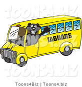 Vector Illustration of a Cartoon Black Jaguar Mascot School Bus Driver by Toons4Biz