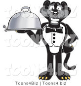 Vector Illustration of a Cartoon Black Jaguar Mascot Serving a Platter by Toons4Biz