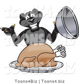 Vector Illustration of a Cartoon Black Jaguar Mascot Serving a Turkey by Toons4Biz