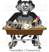 Vector Illustration of a Cartoon Black Jaguar Mascot Taking a Quiz by Toons4Biz