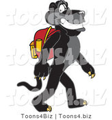 Vector Illustration of a Cartoon Black Jaguar Mascot Walking to School by Toons4Biz