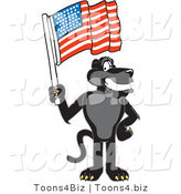 Vector Illustration of a Cartoon Black Jaguar Mascot Waving an American Flag by Toons4Biz