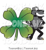 Vector Illustration of a Cartoon Black Jaguar Mascot with a Clover by Toons4Biz