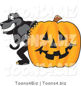 Vector Illustration of a Cartoon Black Jaguar Mascot with a Halloween Pumpkin by Toons4Biz