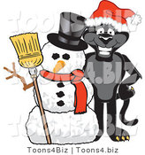 Vector Illustration of a Cartoon Black Jaguar Mascot with a Snowman by Toons4Biz
