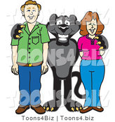 Vector Illustration of a Cartoon Black Jaguar Mascot with Adults by Toons4Biz