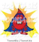 Vector Illustration of a Cartoon Blood Droplet Mascot Dressed As a Super Hero by Toons4Biz