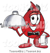 Vector Illustration of a Cartoon Blood Droplet Mascot Dressed As a Waiter and Holding a Serving Platter by Toons4Biz