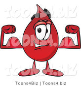 Vector Illustration of a Cartoon Blood Droplet Mascot Flexing His Arm Muscles by Toons4Biz