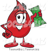 Vector Illustration of a Cartoon Blood Droplet Mascot Holding a Dollar Bill by Toons4Biz