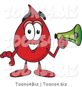 Vector Illustration of a Cartoon Blood Droplet Mascot Holding a Megaphone by Toons4Biz