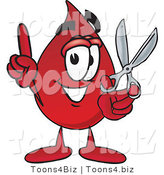 Vector Illustration of a Cartoon Blood Droplet Mascot Holding a Pair of Scissors by Toons4Biz