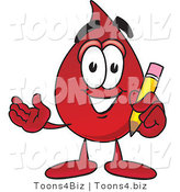 Vector Illustration of a Cartoon Blood Droplet Mascot Holding a Pencil by Toons4Biz