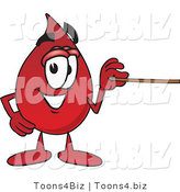 Vector Illustration of a Cartoon Blood Droplet Mascot Holding a Pointer Stick by Toons4Biz