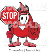 Vector Illustration of a Cartoon Blood Droplet Mascot Holding a Stop Sign by Toons4Biz