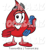 Vector Illustration of a Cartoon Blood Droplet Mascot Holding a Telephone by Toons4Biz