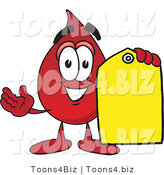 Vector Illustration of a Cartoon Blood Droplet Mascot Holding a Yellow Sales Price Tag by Toons4Biz