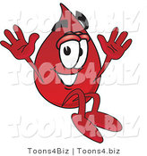 Vector Illustration of a Cartoon Blood Droplet Mascot Jumping by Toons4Biz