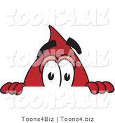 Vector Illustration of a Cartoon Blood Droplet Mascot Peeking over a Surface by Toons4Biz