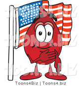 Vector Illustration of a Cartoon Blood Droplet Mascot Pledging Allegiance to an American Flag by Toons4Biz