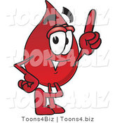 Vector Illustration of a Cartoon Blood Droplet Mascot Pointing Upwards by Toons4Biz