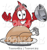 Vector Illustration of a Cartoon Blood Droplet Mascot Serving a Thanksgiving Turkey on a Platter by Toons4Biz