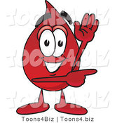 Vector Illustration of a Cartoon Blood Droplet Mascot Waving and Pointing by Toons4Biz