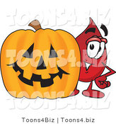 Vector Illustration of a Cartoon Blood Droplet Mascot with a Carved Halloween Pumpkin by Toons4Biz