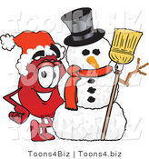 Vector Illustration of a Cartoon Blood Droplet Mascot with a Snowman on Christmas by Toons4Biz
