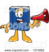 Vector Illustration of a Cartoon Blue Book Mascot Announcing with a Megaphone by Toons4Biz