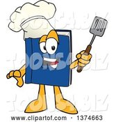 Vector Illustration of a Cartoon Blue Book Mascot Chef Wearing a Toque and Holding a Spatula by Toons4Biz