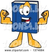 Vector Illustration of a Cartoon Blue Book Mascot Flexing His Muscles by Toons4Biz