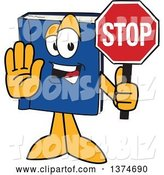 Vector Illustration of a Cartoon Blue Book Mascot Gesturing and Holding a Stop Sign by Toons4Biz
