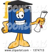 Vector Illustration of a Cartoon Blue Book Mascot Graduate Holding a Diploma by Toons4Biz