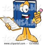 Vector Illustration of a Cartoon Blue Book Mascot Holding a Checklist on a Clip Board and a Pencil by Toons4Biz