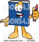 Vector Illustration of a Cartoon Blue Book Mascot Holding a Crayon by Toons4Biz