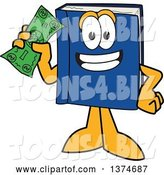 Vector Illustration of a Cartoon Blue Book Mascot Holding a Dollar Bill by Toons4Biz