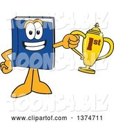 Vector Illustration of a Cartoon Blue Book Mascot Holding a First Place Trophy by Toons4Biz