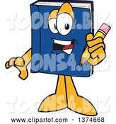 Vector Illustration of a Cartoon Blue Book Mascot Holding a Pencil by Toons4Biz