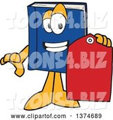Vector Illustration of a Cartoon Blue Book Mascot Holding a Sales Price Tag by Toons4Biz