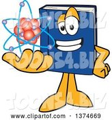 Vector Illustration of a Cartoon Blue Book Mascot Holding an Atom by Toons4Biz