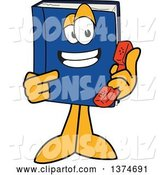 Vector Illustration of a Cartoon Blue Book Mascot Holding and Pointing to a Telephone Receiver by Toons4Biz