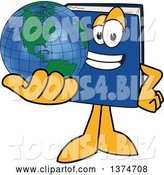 Vector Illustration of a Cartoon Blue Book Mascot Holding out a Globe by Toons4Biz