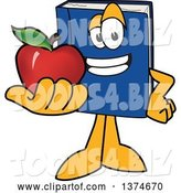 Vector Illustration of a Cartoon Blue Book Mascot Holding out an Apple by Toons4Biz