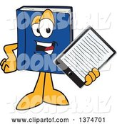 Vector Illustration of a Cartoon Blue Book Mascot Holding out an E Reader or Tablet Computer by Toons4Biz