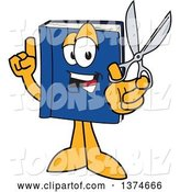 Vector Illustration of a Cartoon Blue Book Mascot Holding up a Finger and a Pair of Scissors by Toons4Biz